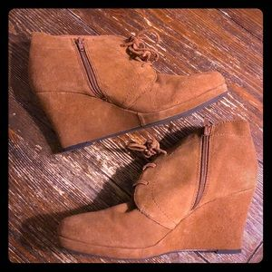 🍂EUC Dolce Vita Brown Suede Bootie Wedges 9.5🍂